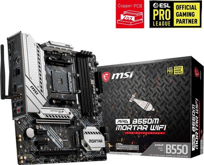 MSI MAG B550M Mortar WIFI (2,5Gbit LAN, Wifi 6, bis DDR4-4400, RGB Header, 7.1 Audio, 2x M.2)