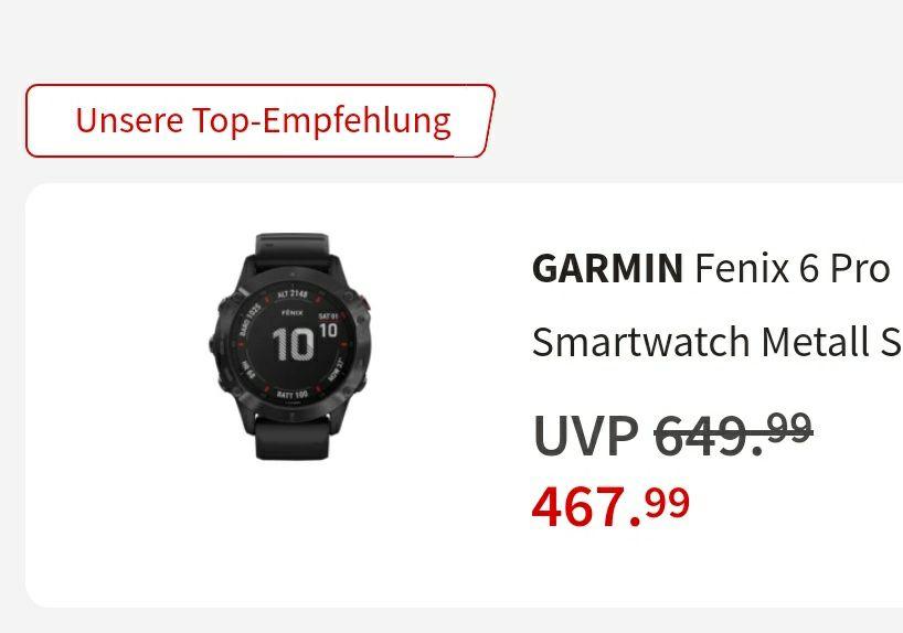 Garmin Fenix 6 Pro 467,99€ (-10€ Newsletter Gutschein möglich)