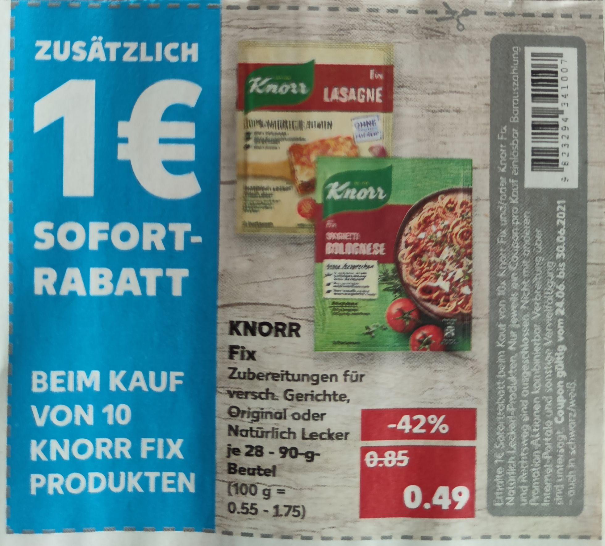 KNORR Fix für 0.49€ pro Beutel / mit Coupon ab 10St. für 0.39€