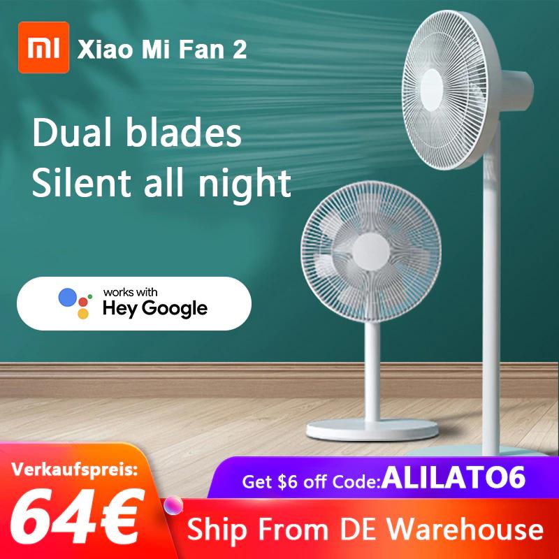 Xiaomi Mi Smart Standing Fan 2, Tisch- & Standventilator, Mi Home (38 W, 38-58 dB, 3 Geschwindigkeitsstufen, Alexa & Google Assistant)