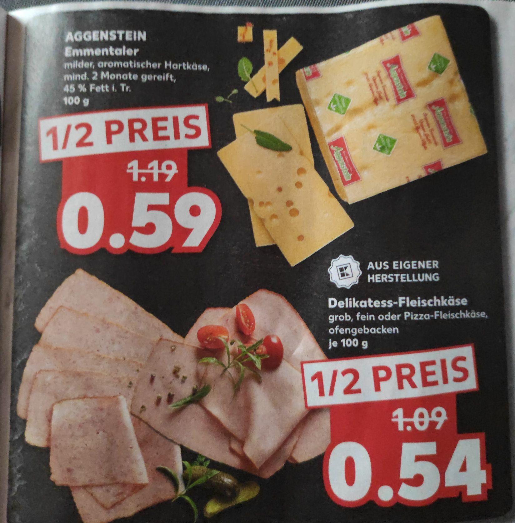 So ein Käse - Aggenstein Emmentaler zum halben Preis / alternativ Delikatess Fleischkäse für 5 Cent weniger [Kaufland offline bundesweit?]
