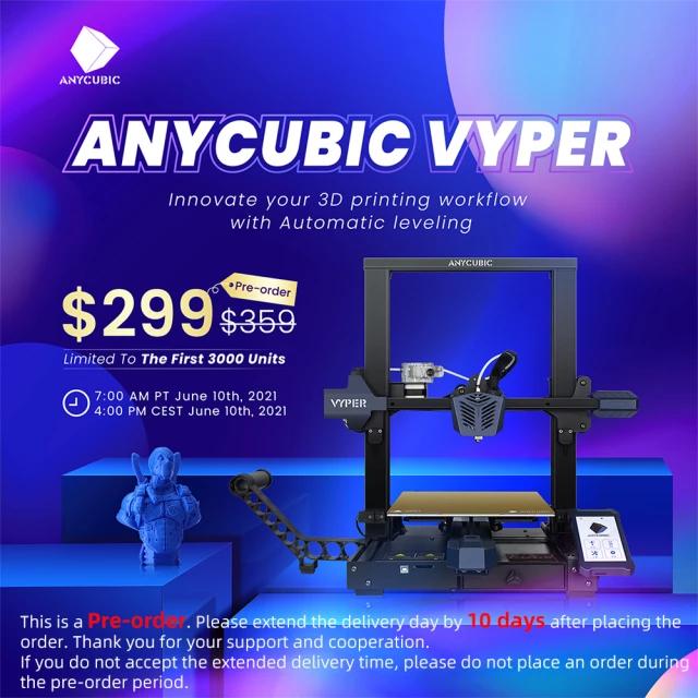 3D Drucker Anycubic Vyper + 1kg Anycubic PLA bei Versand aus Deutschland