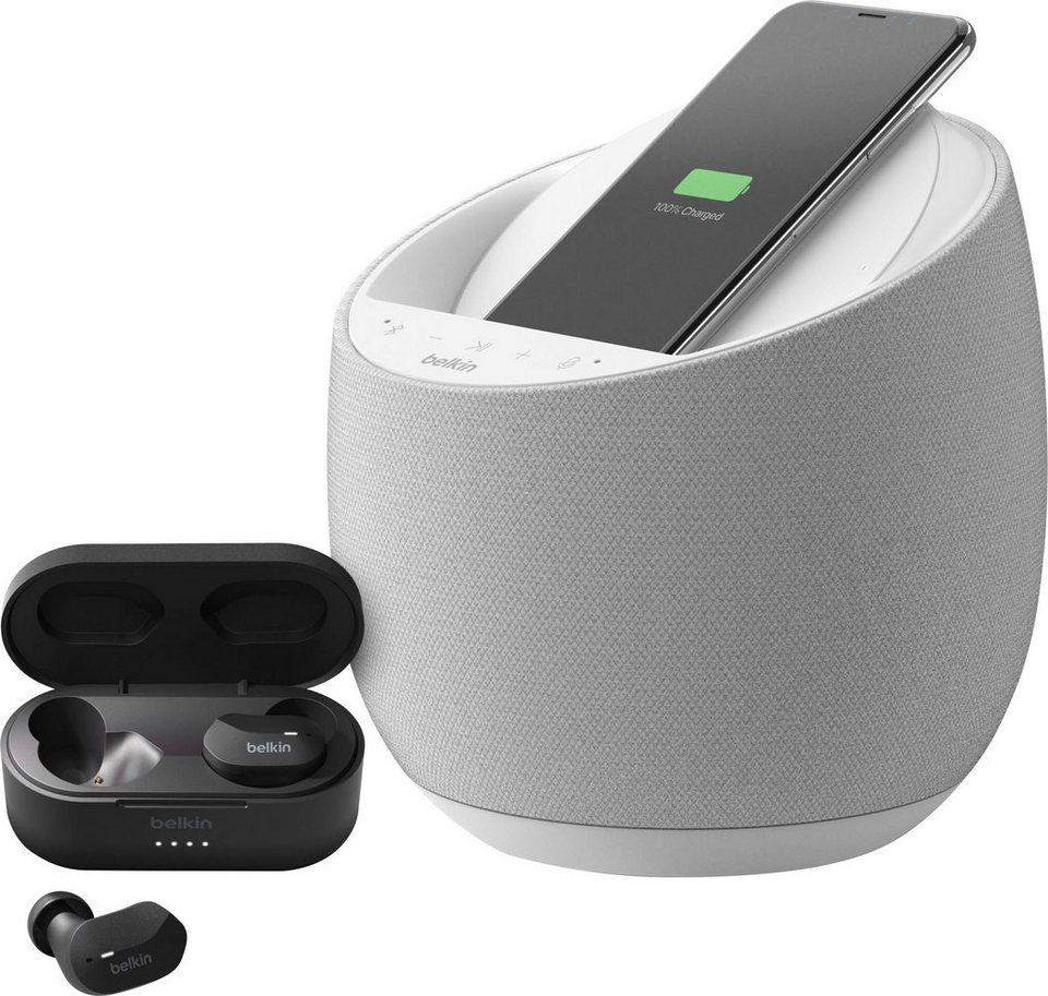 Belkin SoundForm Elite Smart Speaker (150W, WLAN, Bluetooth 5.0, WLAN, AirPlay 2, Alexa, Qi-Ladestation) + True Wireless In-Ears