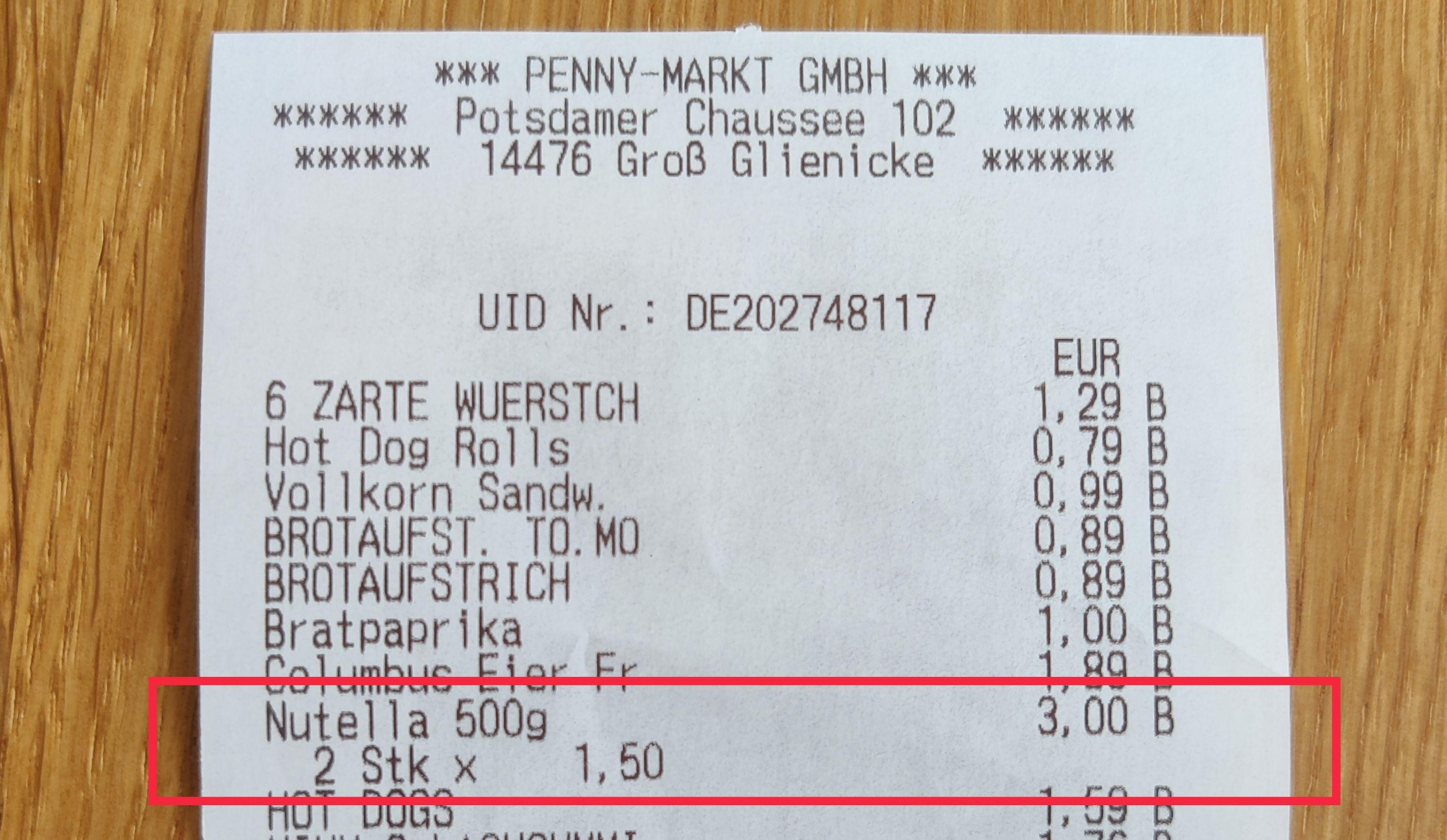 Nutella 500g [Lokal Penny Groß Glienicke]