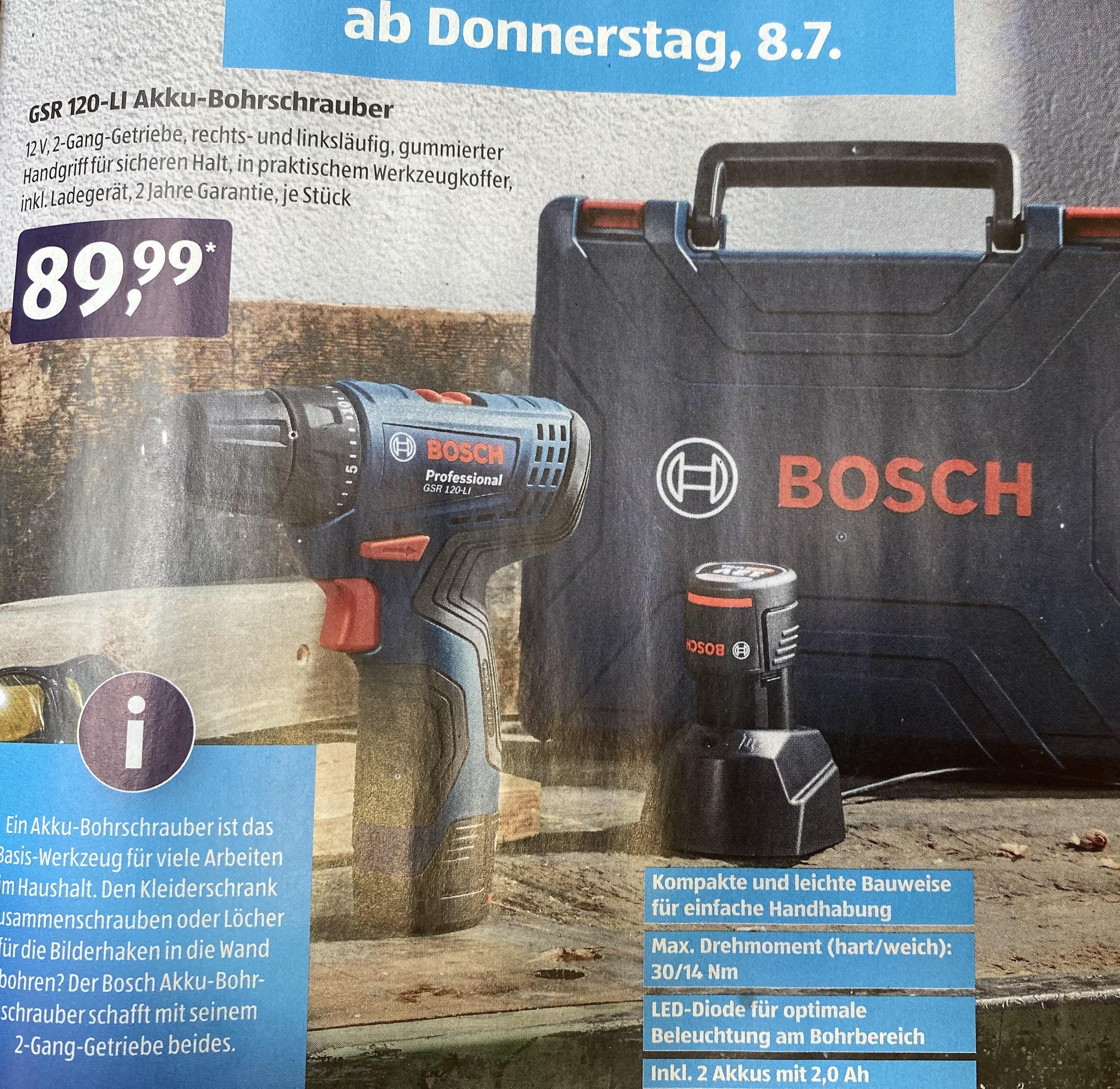 BOSCH Akku-Bohrschrauber »GSR 120 LI«, inkl. 2 Akkus 2,0 Ah, 12 V, mit Wekzeugkoffer ( 08.07.2021 ) Aldi Süd