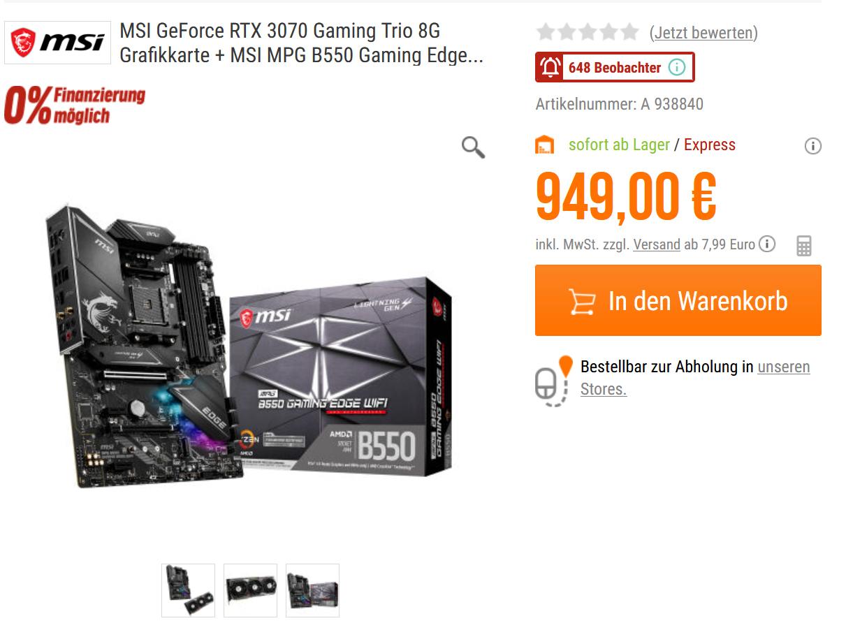 MSI GeForce RTX 3070 Gaming Trio 8G Grafikkarte + MSI MPG B550 Gaming Edge WIFI Mainboard Bundel [NBB]
