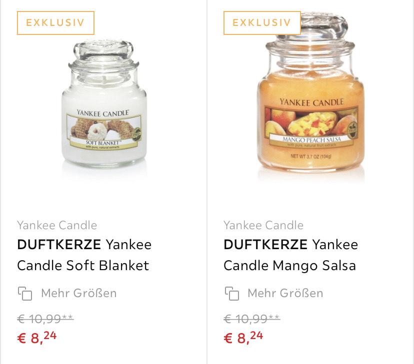 [Preis für 4 Kerzen] Diverse Yankee Duftkerzen bei XXXLutz im Angebot für 8,24 (offline und online mit VSK 3,95)