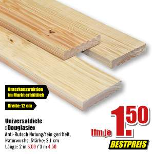 Bestpreis 2021: Douglasie - Holzdielen zum unschlagbaren Preis UND 10€ ab 50€ zurück