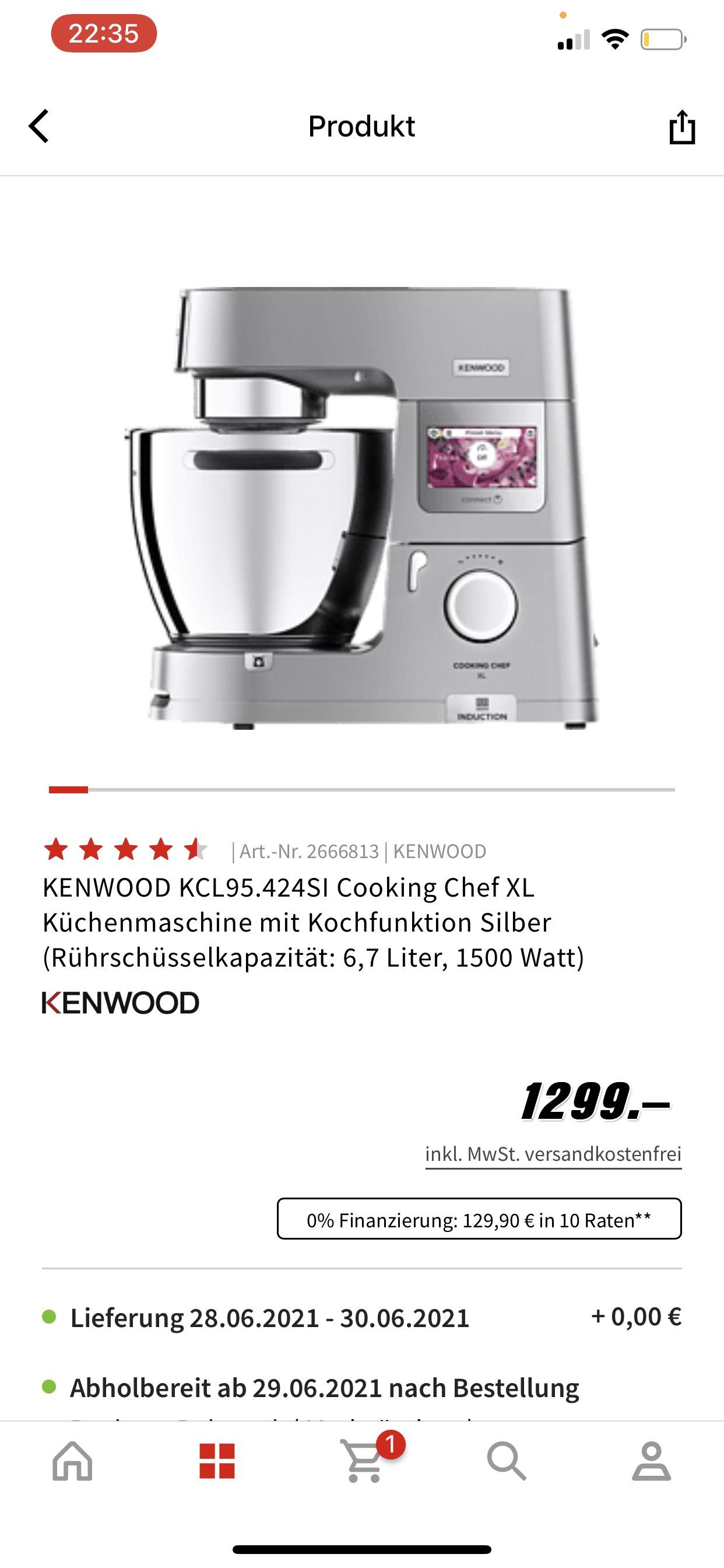 (Saturn) KENWOOD KCL95.424SI Cooking Chef XL - Direktabzug und NL
