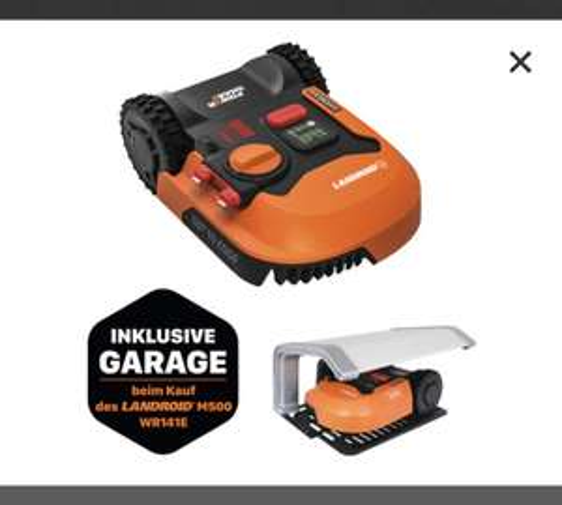 Mähroboter WORX Landroid M500/ WR141E inkl. Garage WA0194 ODER M700 / WR142E mit Garage zu 666€