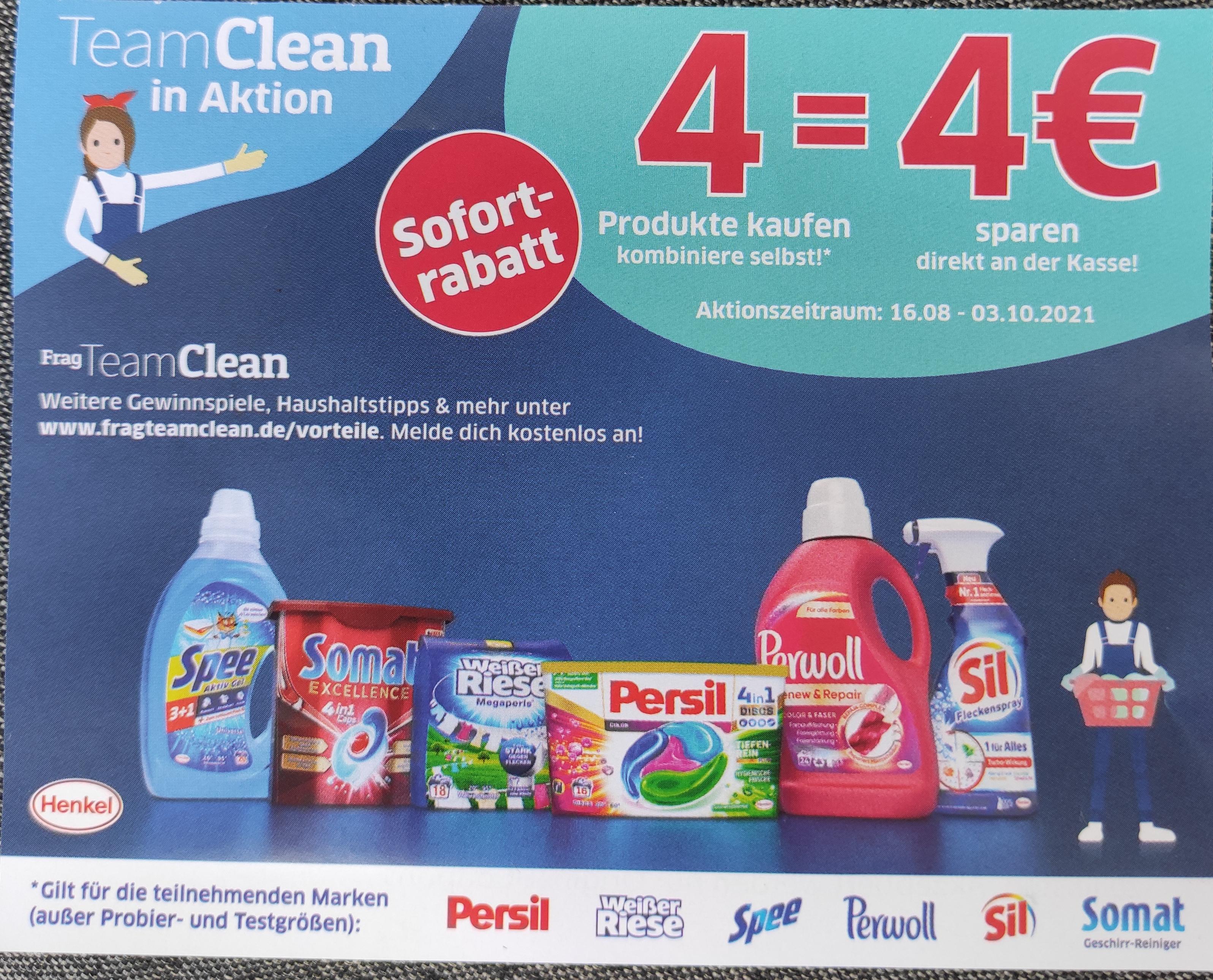4 Produkte = 4 Euro Sofortrabatt kombiniere selbst Henkel Coupon