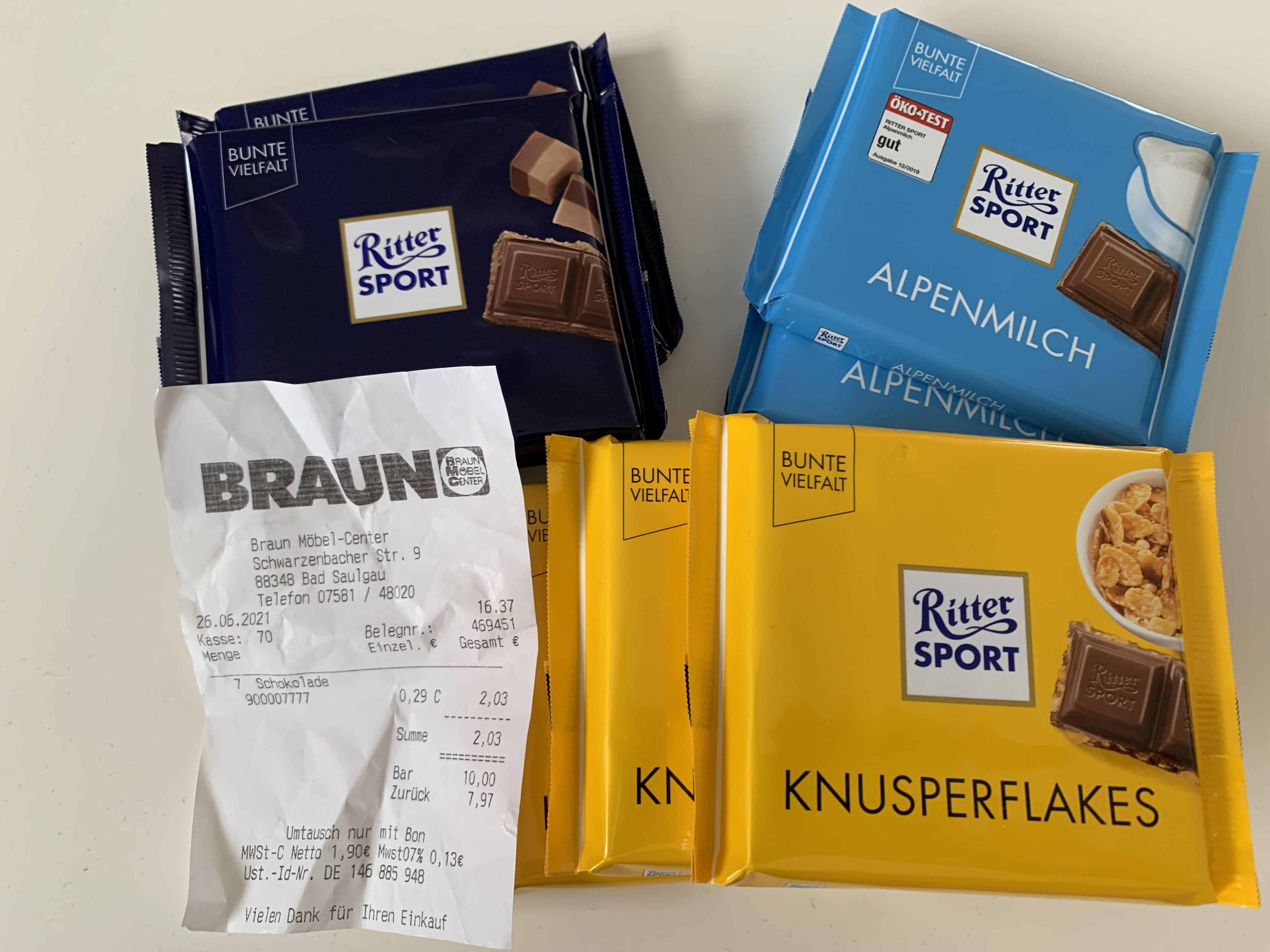 [LOKAL Bad Saulgau] Ritter Sport Schokolade für 0,29€
