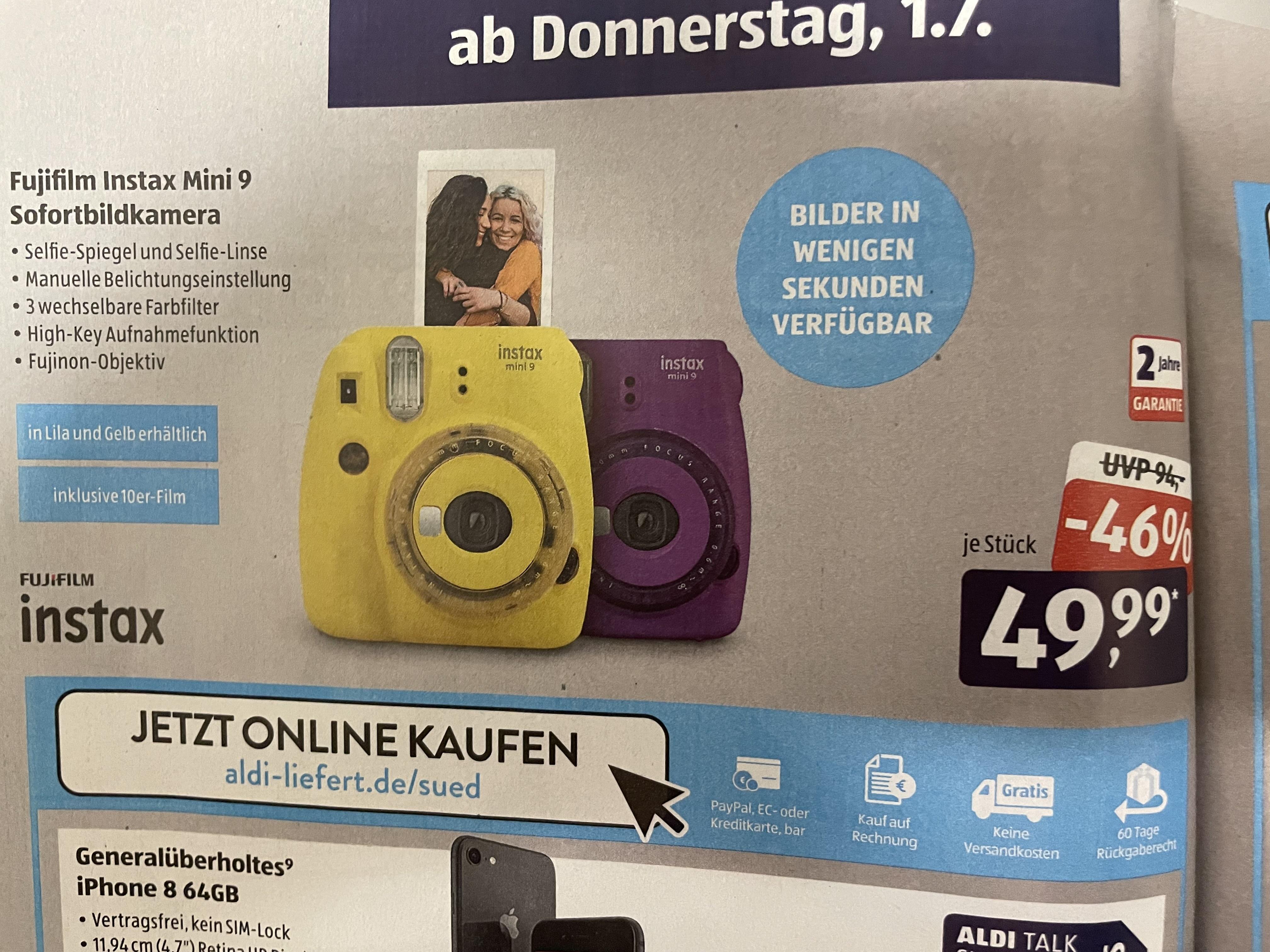 Fujifilm Instax Mini 9 in gelb & lila (inkl. 10er Film & 3x Farbfilter) [Aldi Süd]