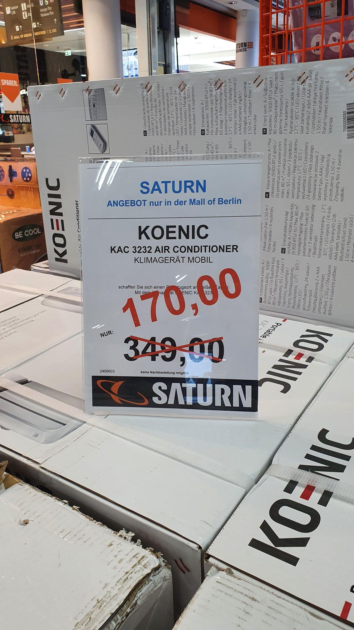 [Berlin Saturn LP 12/ Sammeldeal] Koenic Kac 3232 Klimagerät/ Sodastream Crystal 2.0/ Aarke Carbonator 2/ Remington HC 5018 Haarschneider