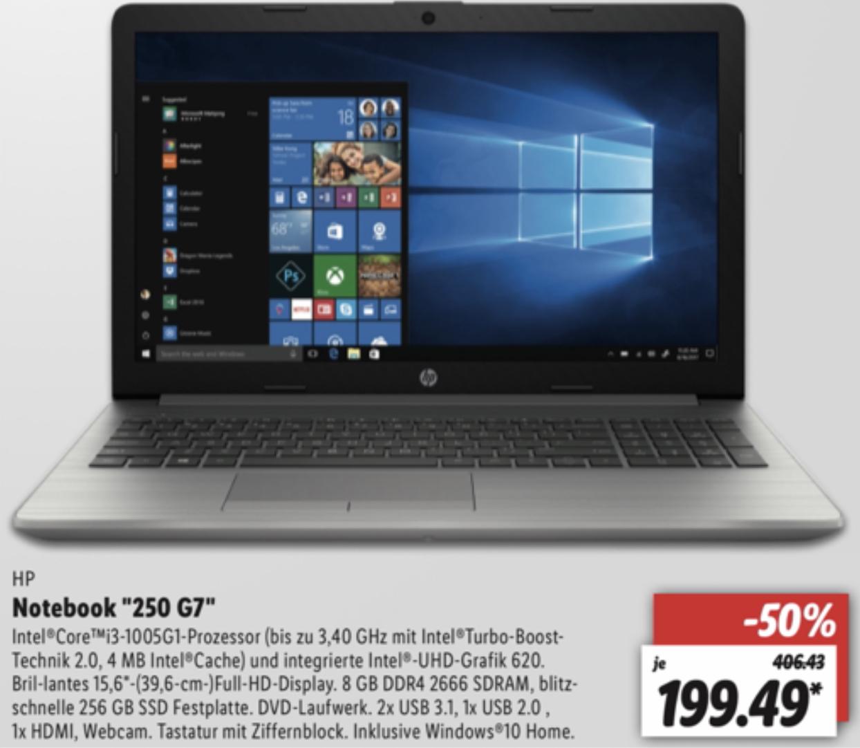 "Lokal Lidl Rostock: HP Notebook 250 G7 15,6"" FHD, Intel Core i3, 8GB SDRAM 256GB SSD, Win10 für 199,49€ - ab 02.07."