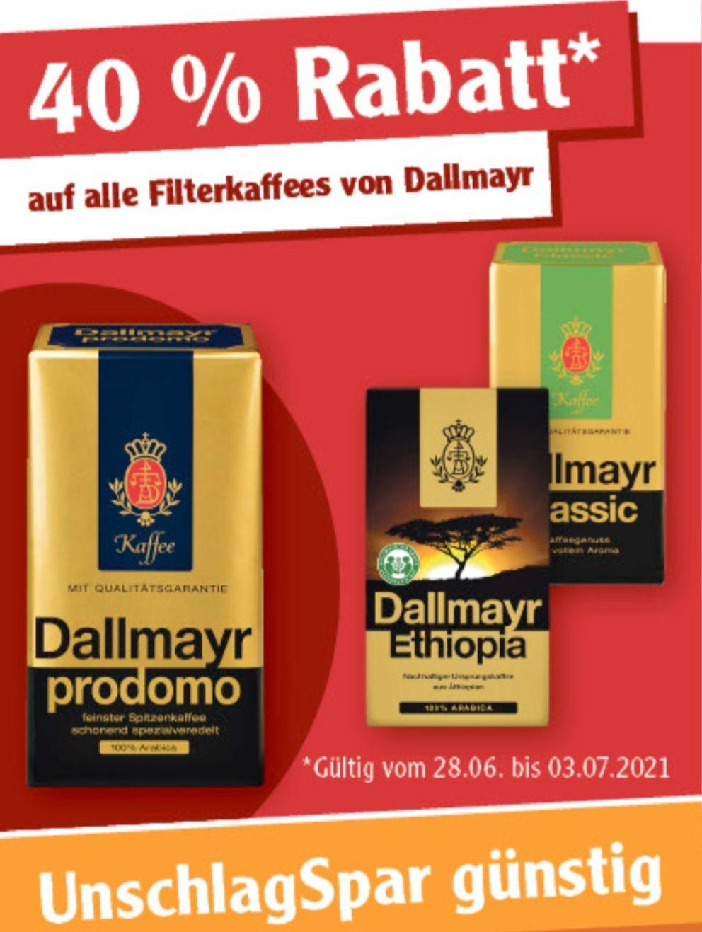 40% auf alle Filterkaffees von Dallmayr ab 28.06 Globus