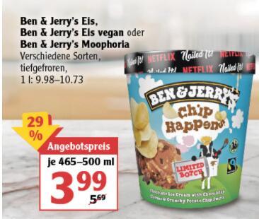 [Globus Rostock] Ben & Jerry's Eiscreme - verschiedene Sorten
