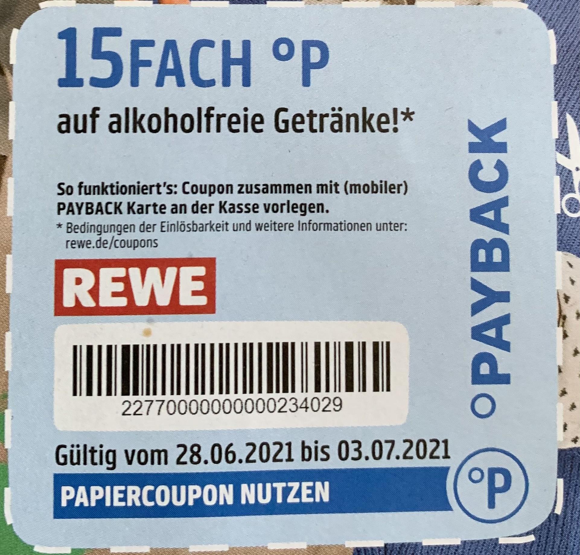 Rewe Deals [Payback] 15 fach Punkte auf alkoholfreie Getränke, bis zu 40fach Punkte auf Wasser