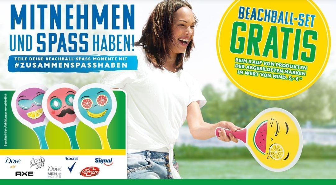Beachballset gratis beim Kauf von 5€ Unilever Produkten