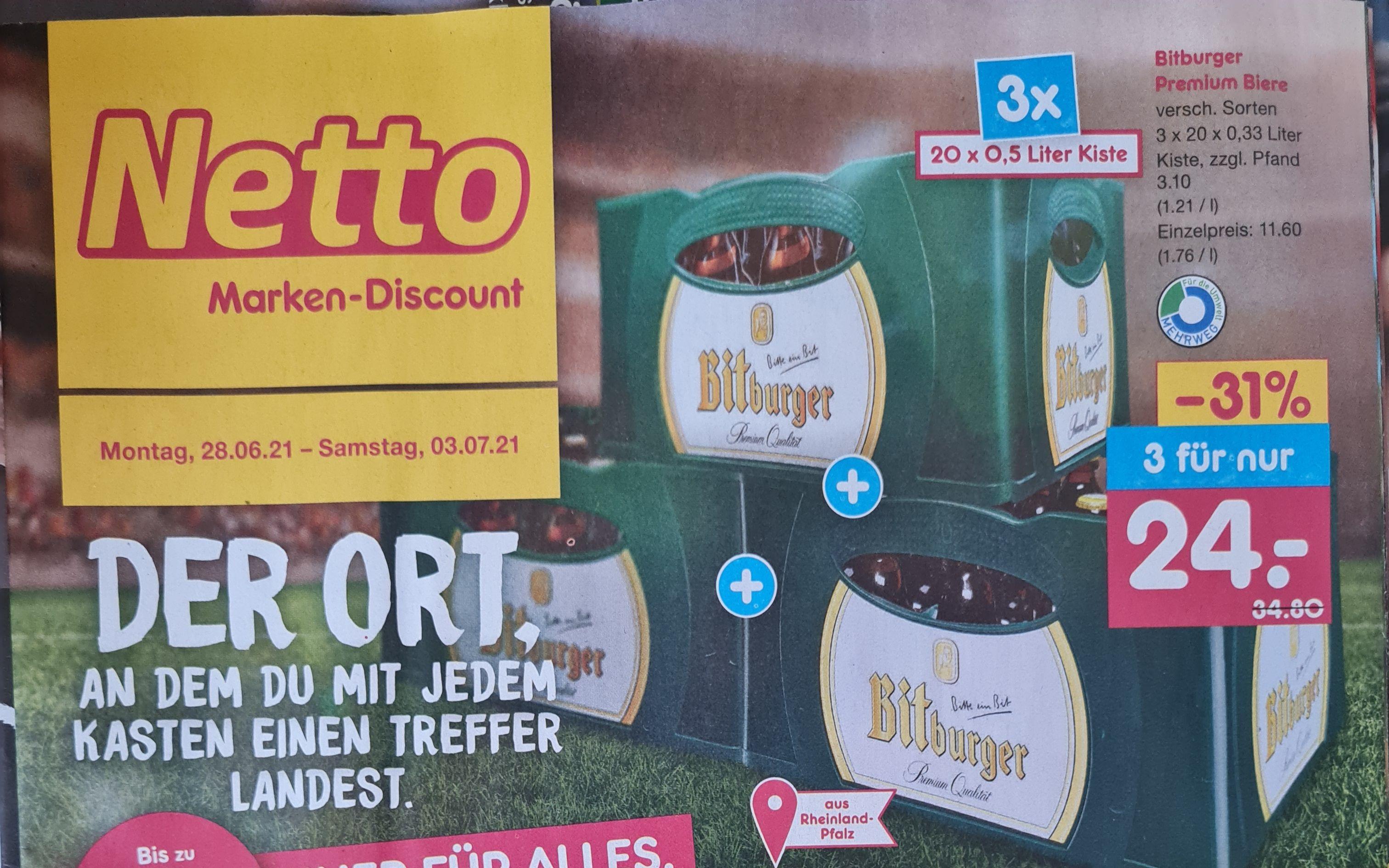 Bitburger Premium Biere 3 Kisten x20x0,33 l Plus 10-fach Punkte auf alle Getränke ab 28.06 Netto MD (Lokal?)