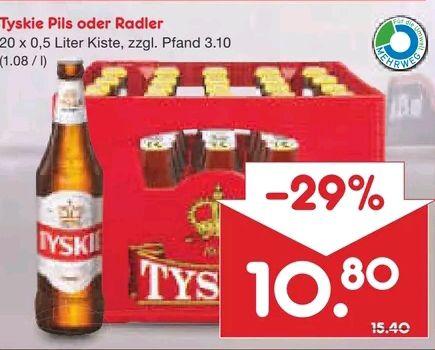[Netto MD] Tyskie Pils oder Radler mit Coupon 8,64€ pro Kiste (lokal: Köln, Essen)