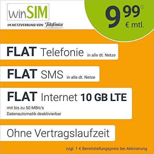 winSIM LTE All 10 GB (9,99€ monatlich) + einmalig 5 € bei Amazon verfügbar