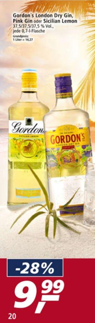 Gordon's London Dry Gin, Pink Gin, Sicilian Lemon 37,5% Vol. 0,7 l ab 28.06 Real