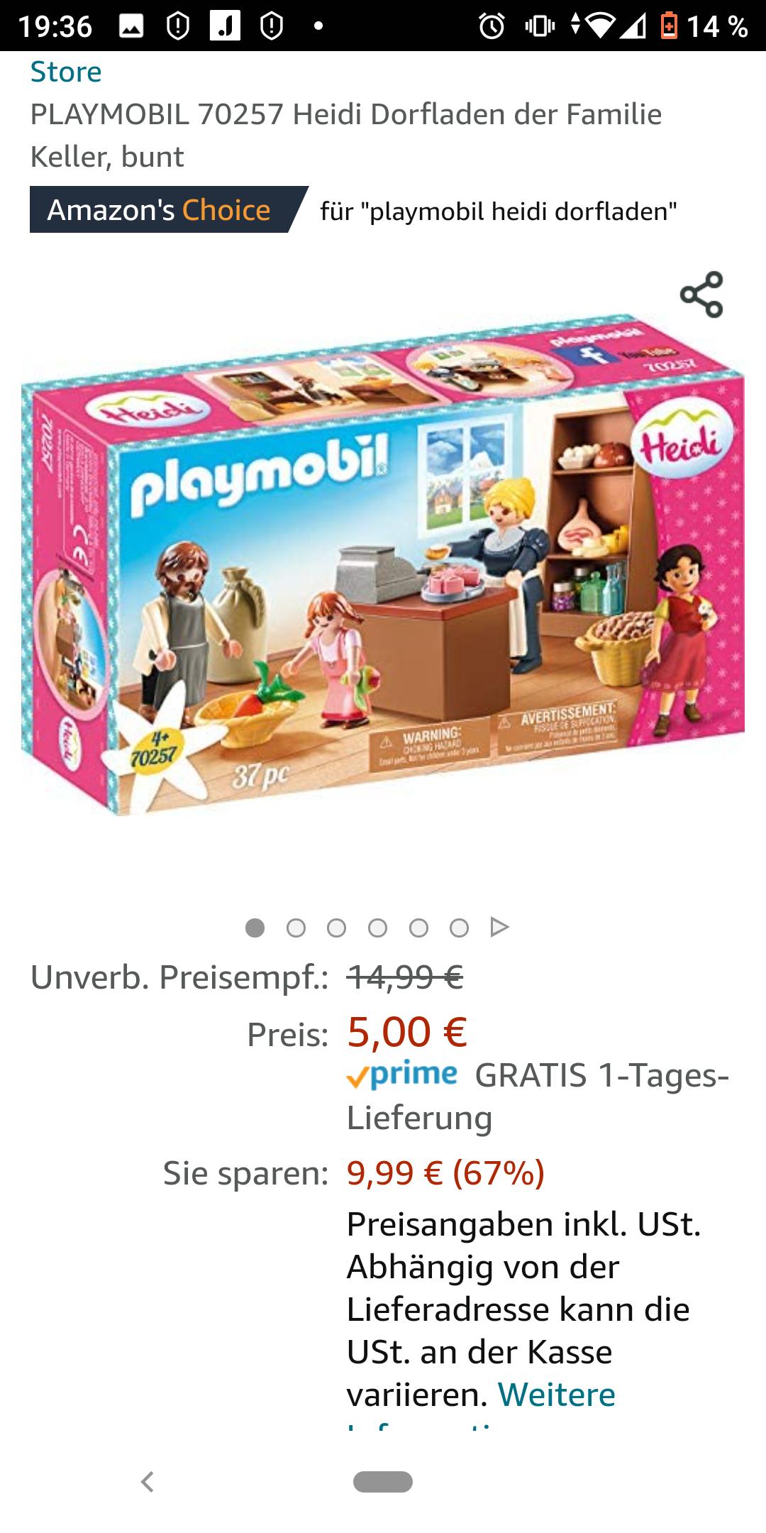 Amazon Prime PLAYMOBIL 70257 Heidi Dorfladen der Familie Keller