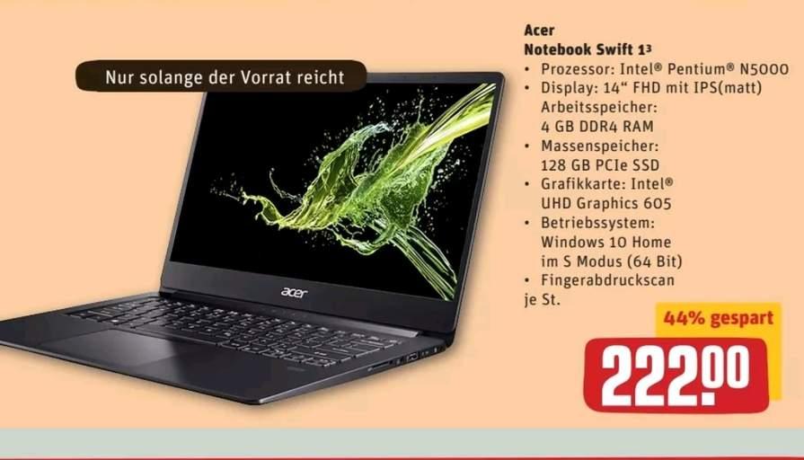 "[Lokal Ülzen] Acer Notebook Swift 13 - 14"" IPS, Intel Pentium N5000, 4GB-RAM, 128GB SSD, Win 10"