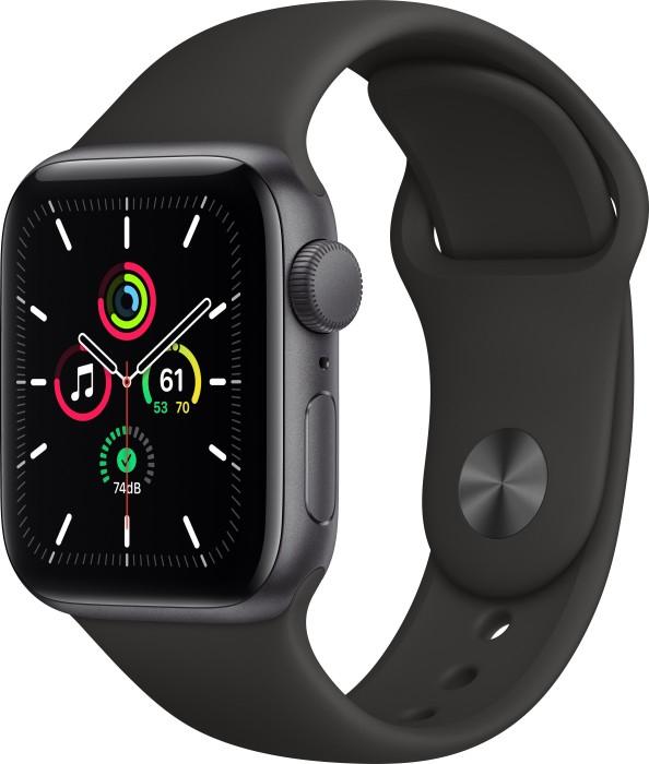 Apple Watch SE 40mm space grau mit Sportarmband schwarz