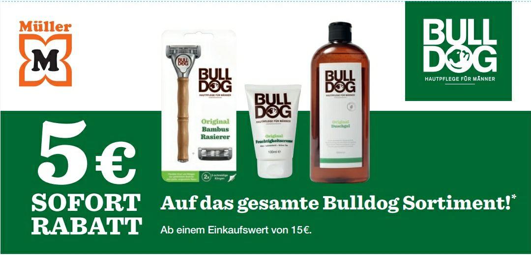 Bei Müller am Regal - Bulldog-Produkte für 15 Euro kaufen und 5 Euro Sofortrabatt erhalten