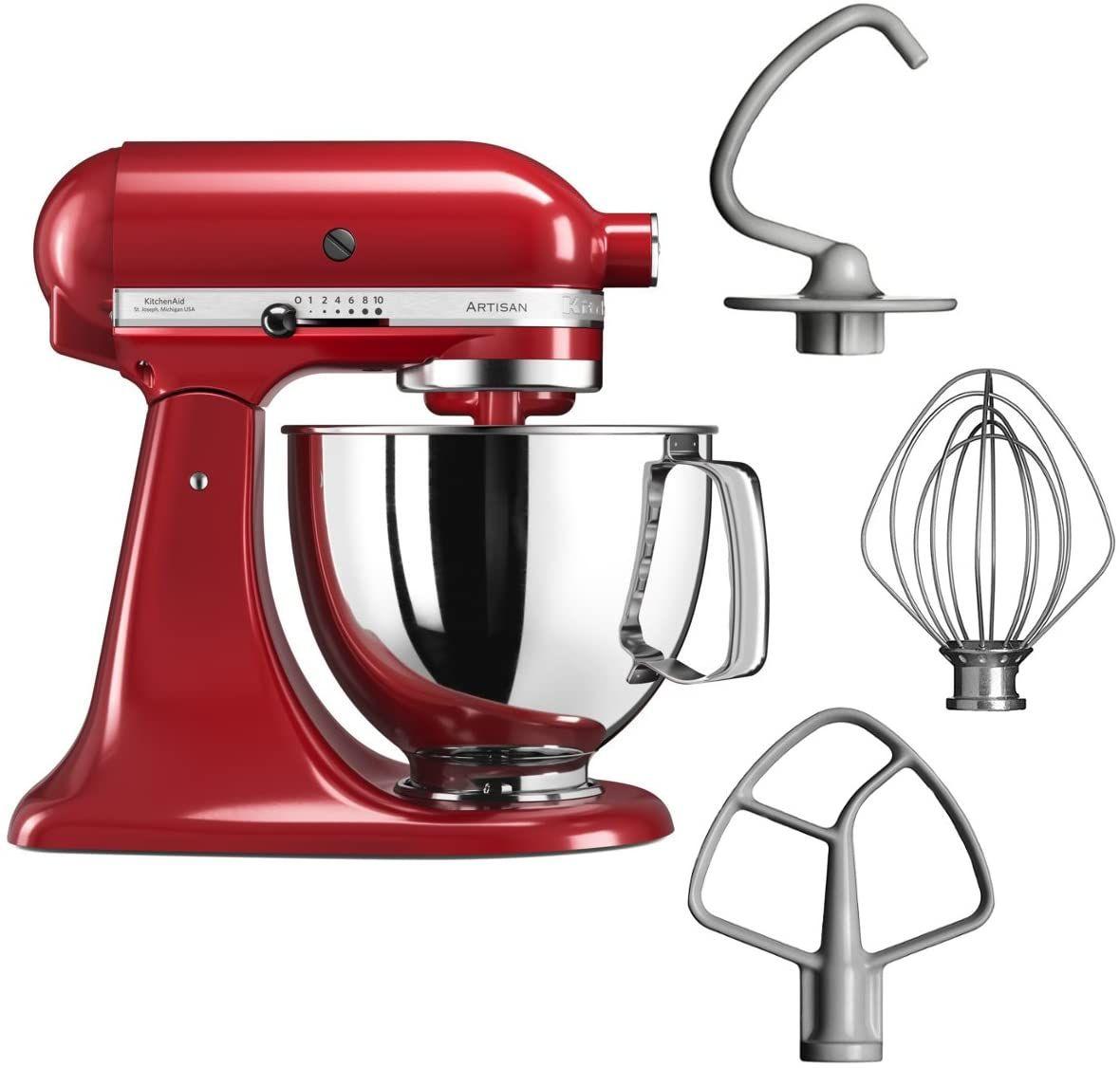 KitchenAid Artisan Küchenmaschine (300W, Planetenrührwerk, Edelstahlschüssel, Schneebesen, Flachrührer, Knethaken) Rot [Vorbestellung]