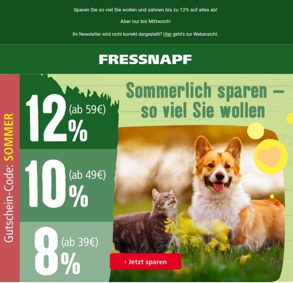 Fressnapf Rabatt-Code: 8% ab 39€, 10% ab 49€ 12% ab 59€