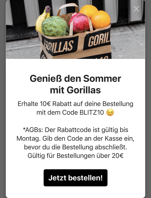 Gorillas vier mal 10€ Rabatt ab 20€ MBW