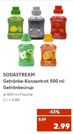 [Kaufland ab 08.07] SODASTREAM Getränke-Konzentrat 500 ml in verschiednen Sorten für je 2,99€ (5,98€ Literpreis)
