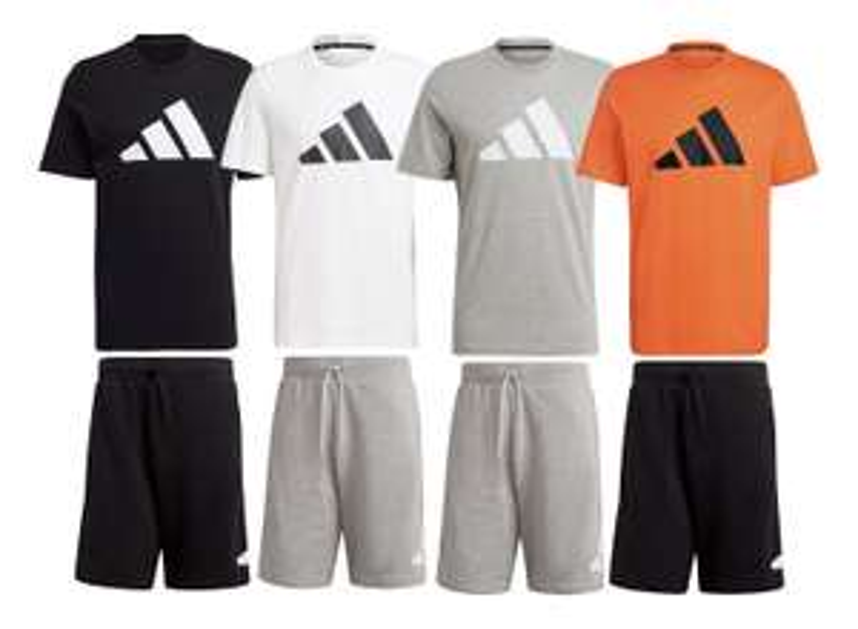 adidas Freizeitset aus 100% Baumwolle (T-Shirt & Shorts mit Reißverschlusstaschen)