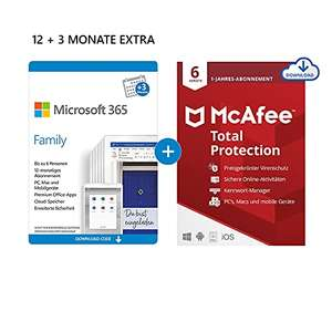 Amazon: Microsoft 365 Office Family / 6 Nutzer / 12+3 Monate + McAfee Total Protection [Download Version]