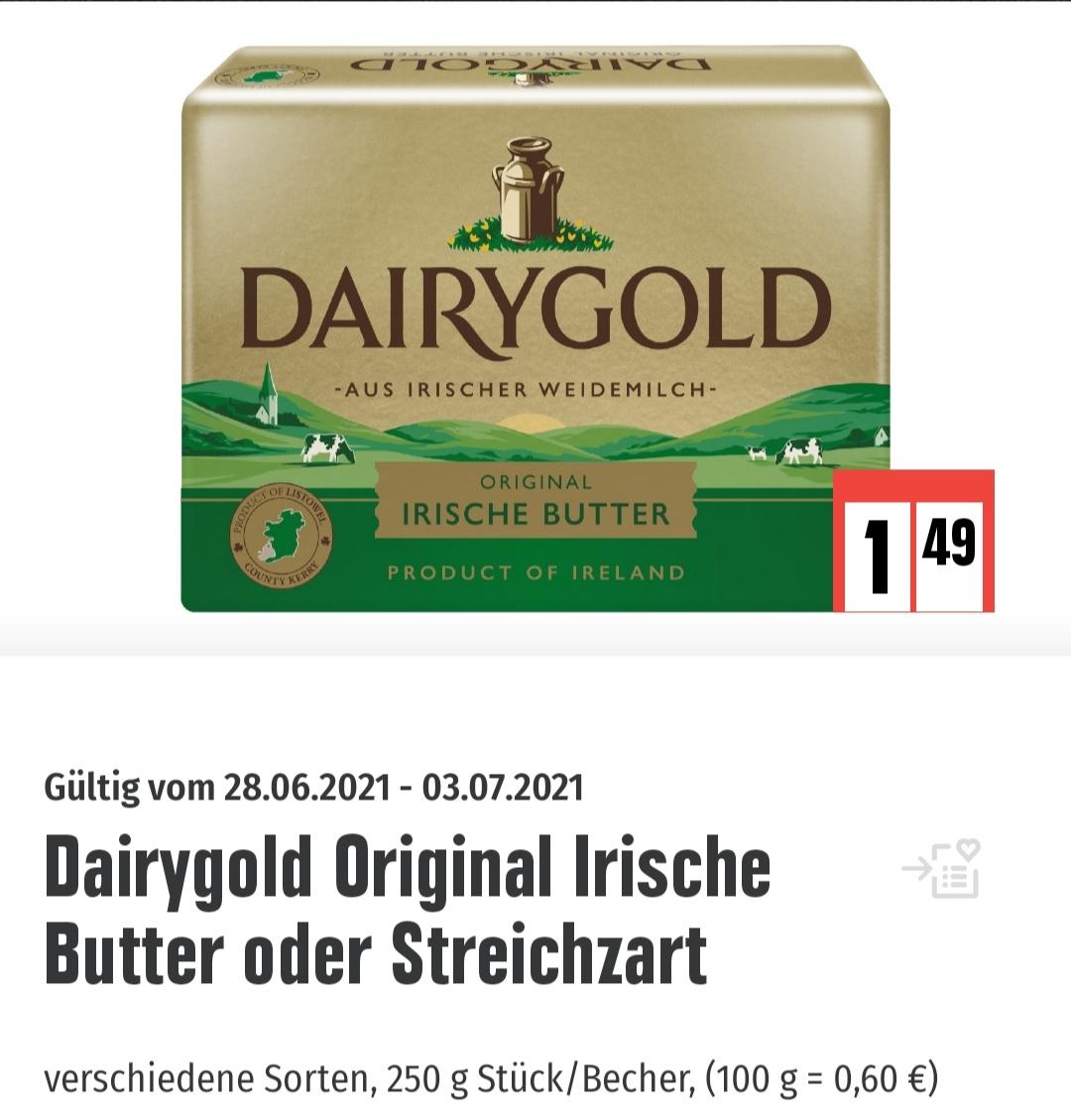 Edeka Dairygold Original Irische Butter 250 Gramm oder Streichzart. Plus 30 extra Punkte Deutschlandcard App. Effektiv 1,19 Euro.
