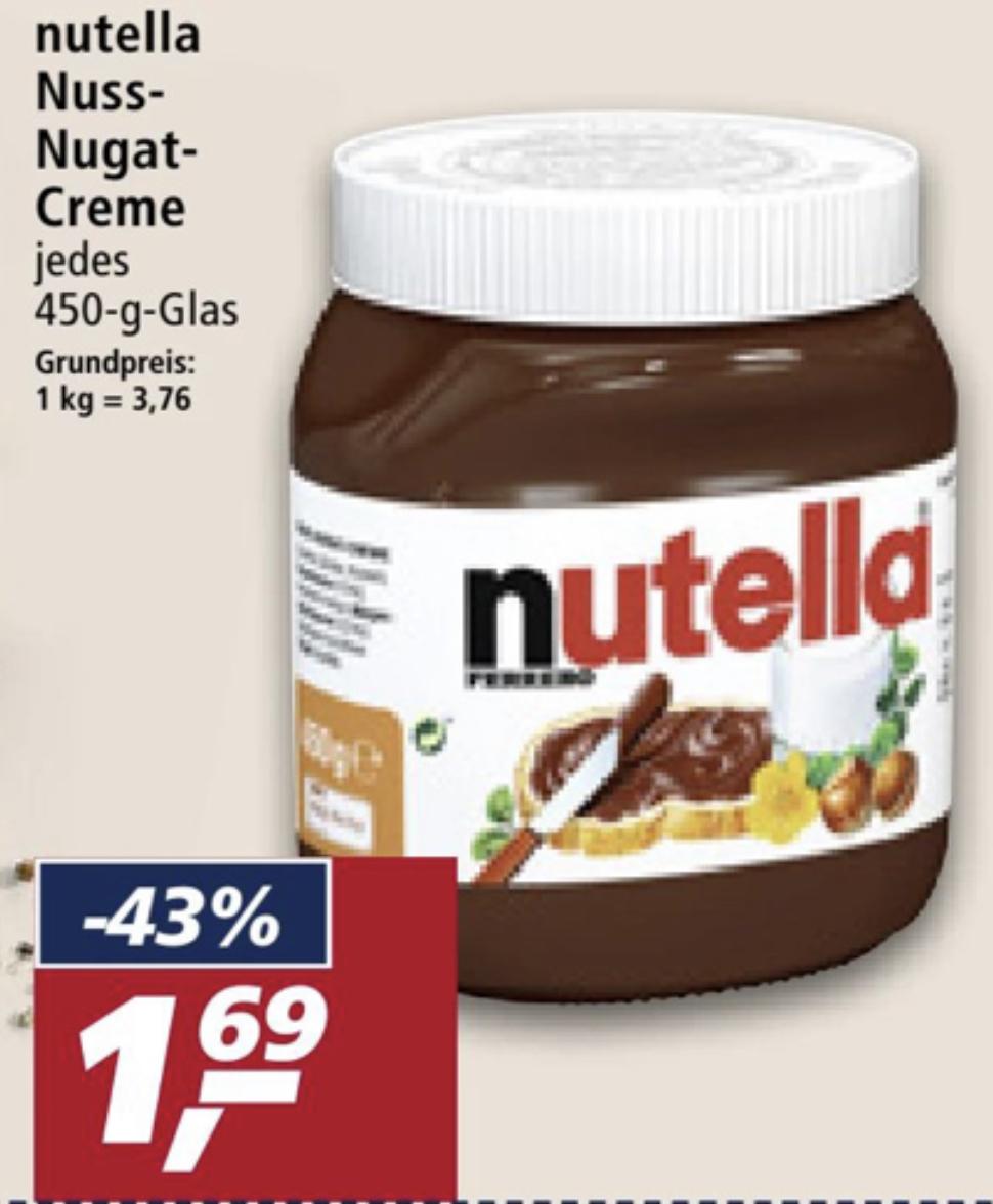 Nutella im 450g Glas für 1,69€ - ab 05.07. bei real