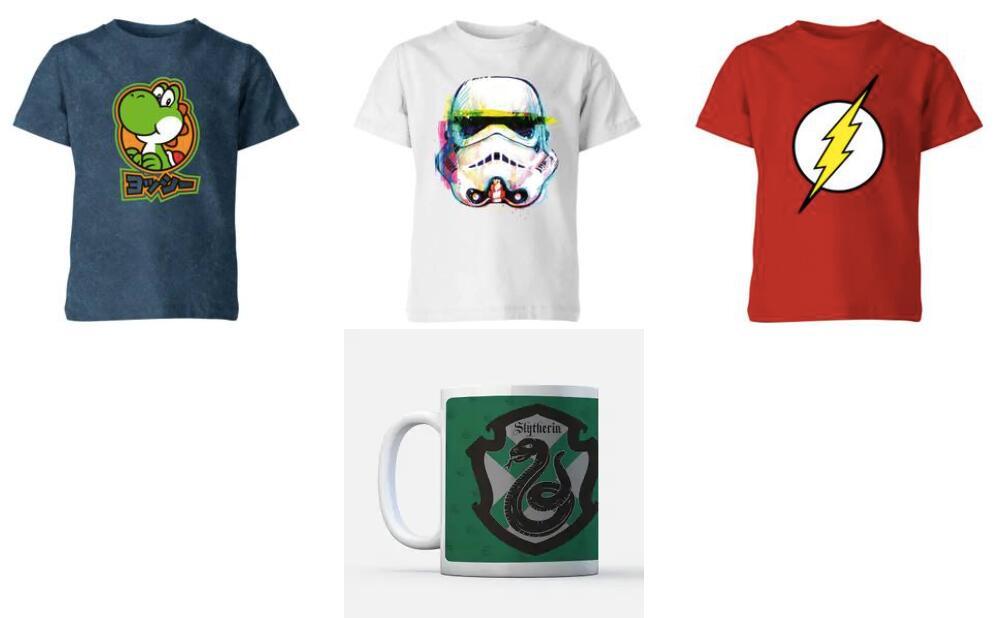 3 T-Shirts für Kinder + Tasse je mit Motiven von verschiedenen Franchises (u.a. Nintendo, Star Wars, Marvel oder Harry Potter)