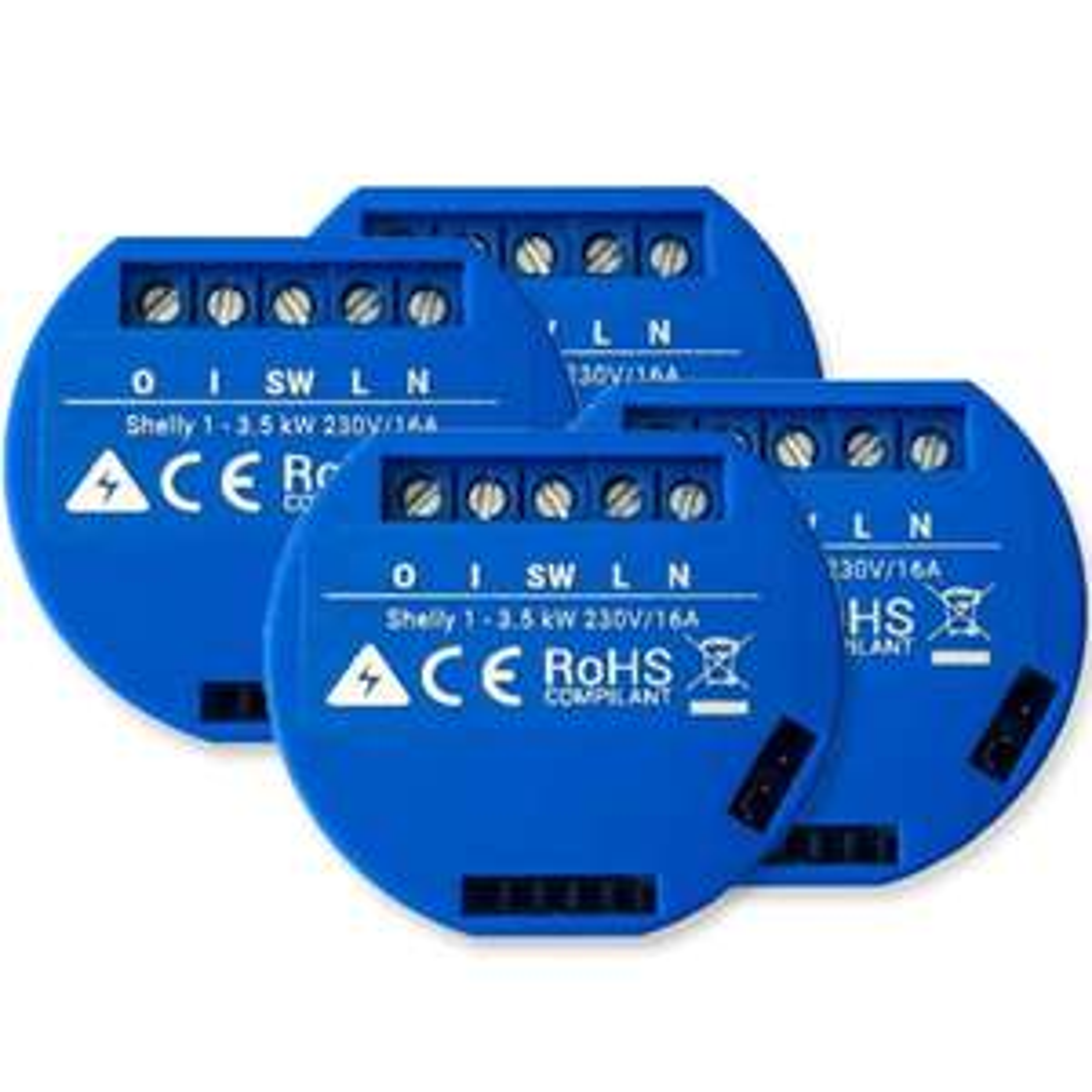 [Sofortüberweisung] 4er Bundle: Shelly 1 WiFi Schaltaktor (Zeitsteuerung, Sprachsteuerung, für Unterputzdosen)