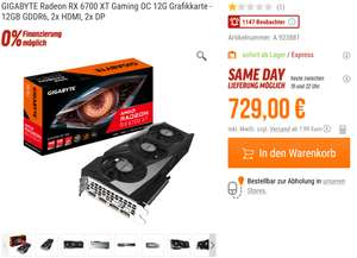 Diverse 6700XT z.B. Gigabyte Gaming OC für 729€ zzgl.VK [NBB]