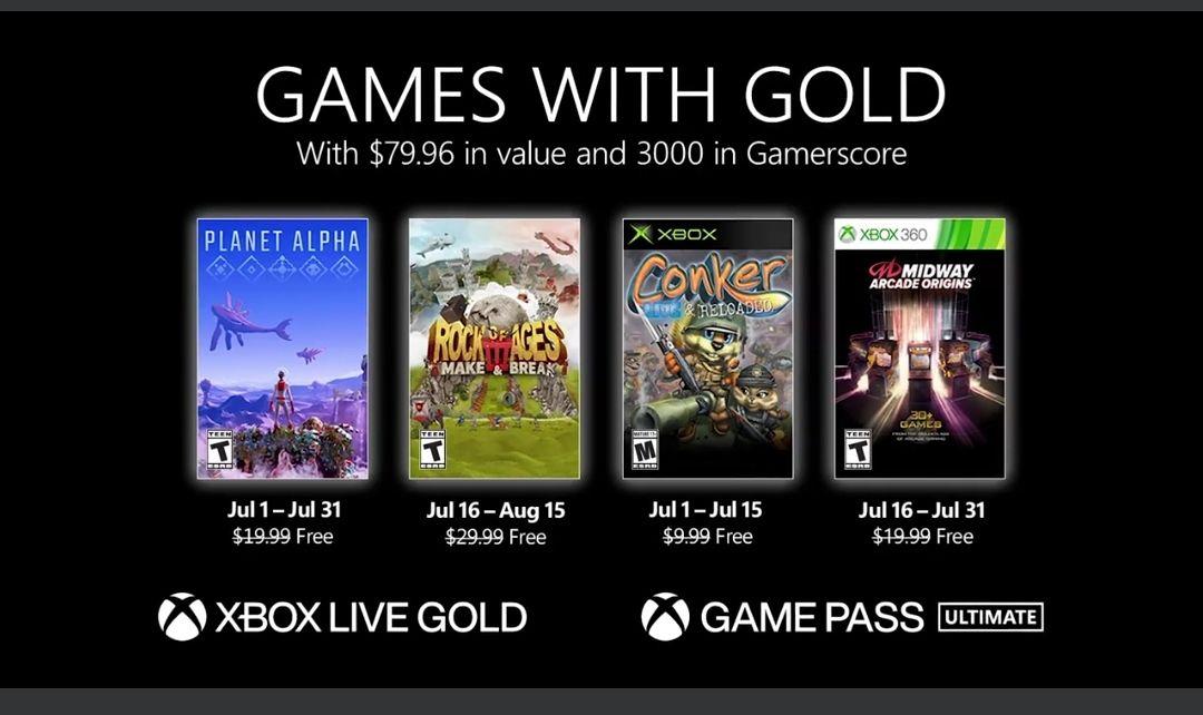Juli Xbox Games with Gold mit z.b Planet Alpha (Xbox one) & Conker (Xbox 360) [Xbox]