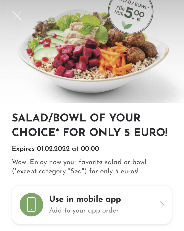 dean&david Salat oder Bowl für 5 €