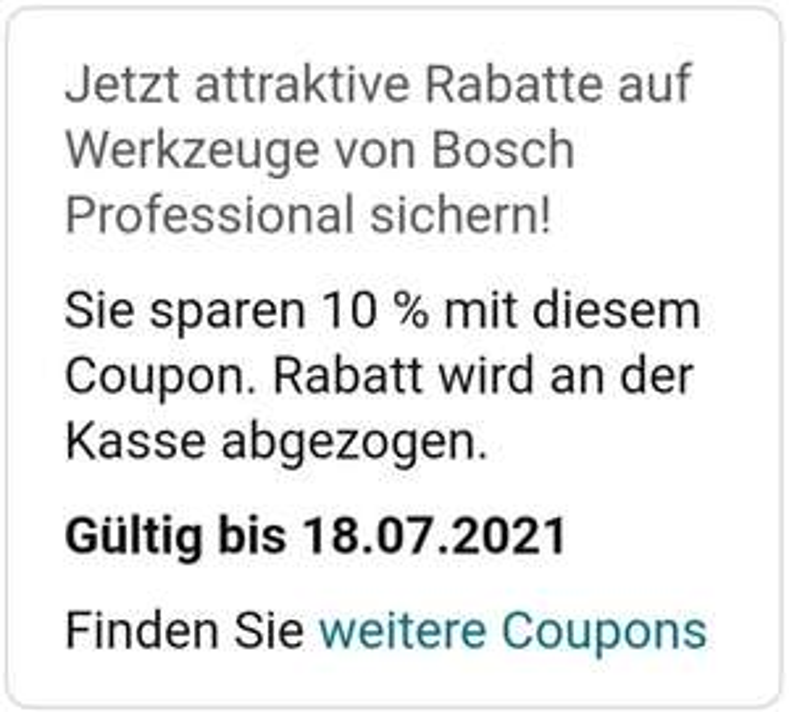 Rabatt auf Bosch Professional Werkzeuge bei Amazon