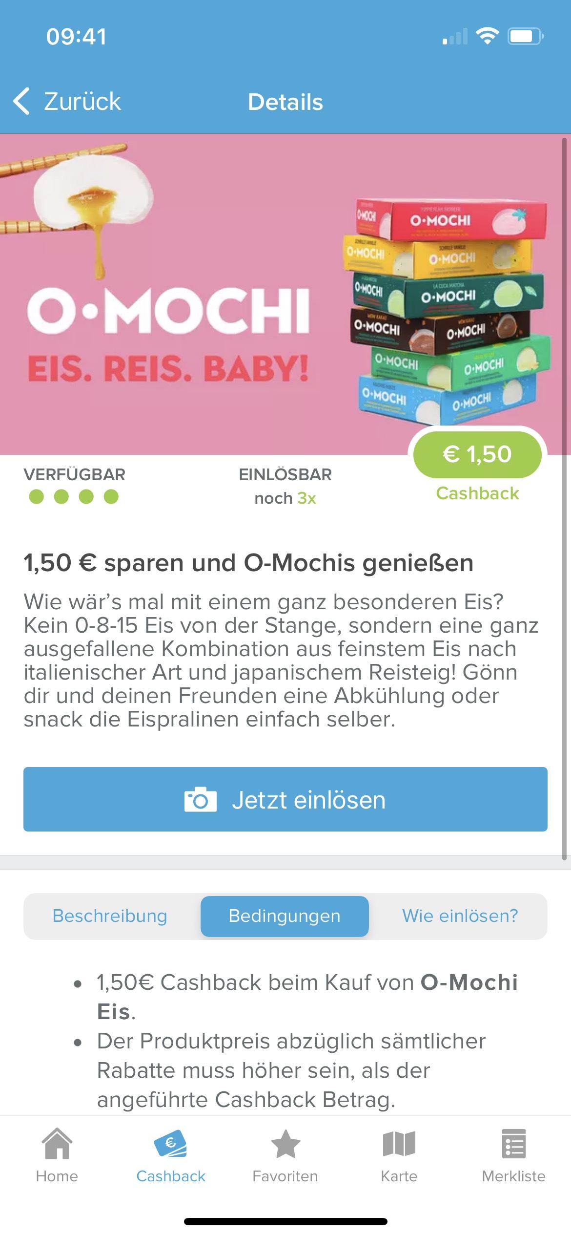 1,50€ Cashback auf O-Mochi
