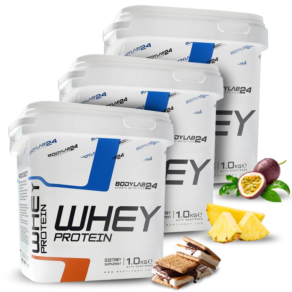 3x 1kg Bodylab24 Whey Protein (4 Sorten zur Wahl, 2 davon mit kurzem MHD)