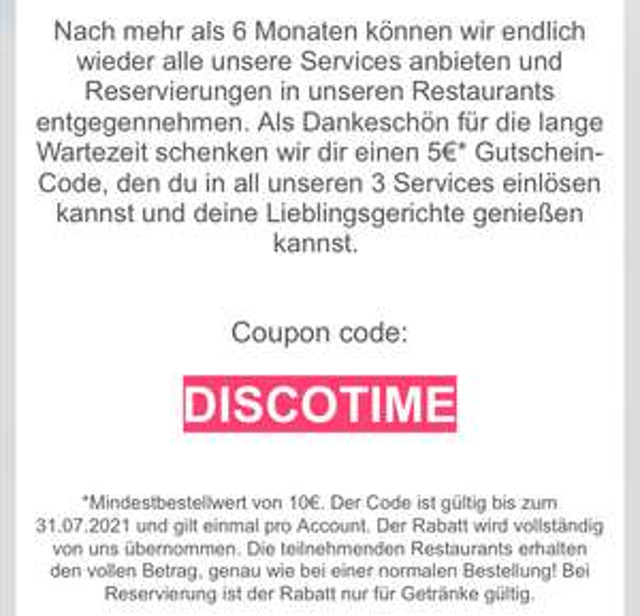 [Lokal Berlin, Köln, London] 5€ Gutschein (10€MBW) für Discoeat