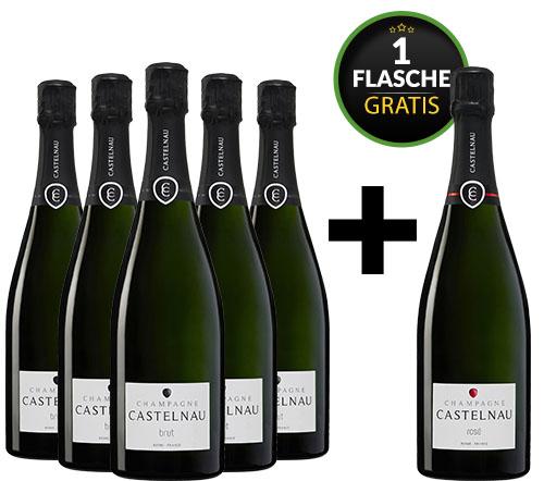 5 Flaschen Champagner de Castelnau Brut + 1 Champagner Brut Rosé gratis