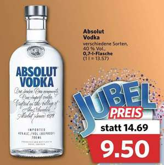 [Combi] Absolut Vodka 0,7l für 9,50€